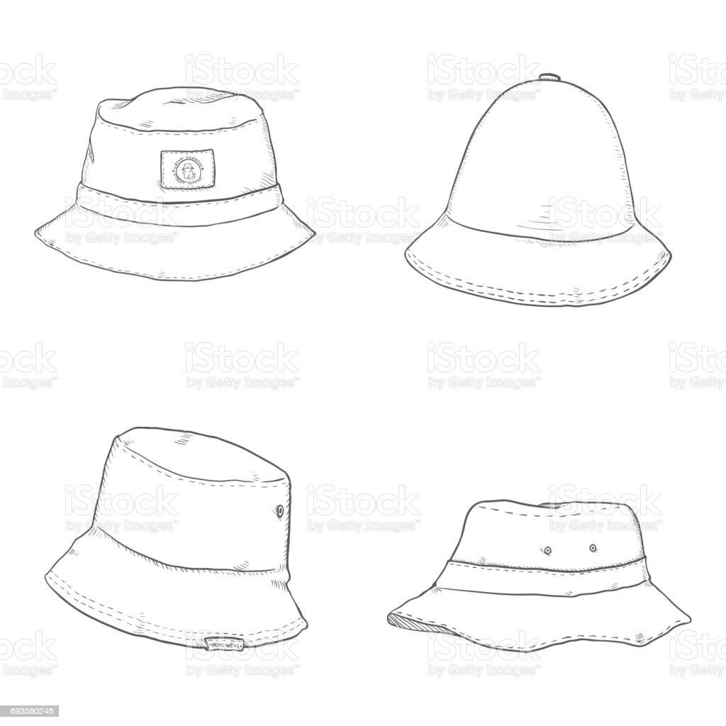 Vector Set of Bucket Hats vector art illustration
