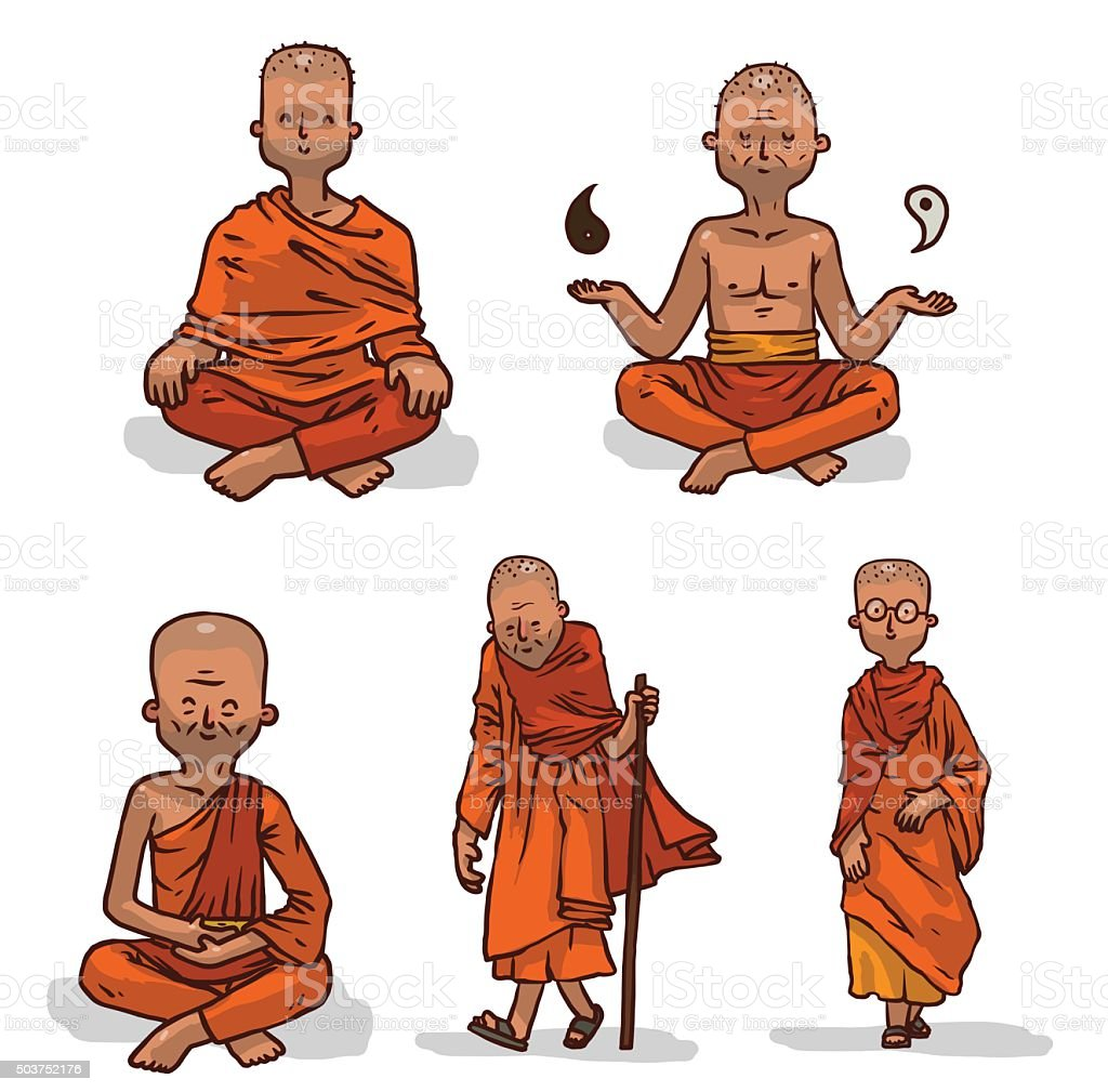 Vector set of Buddhist monks in orange clothes. vector art illustration