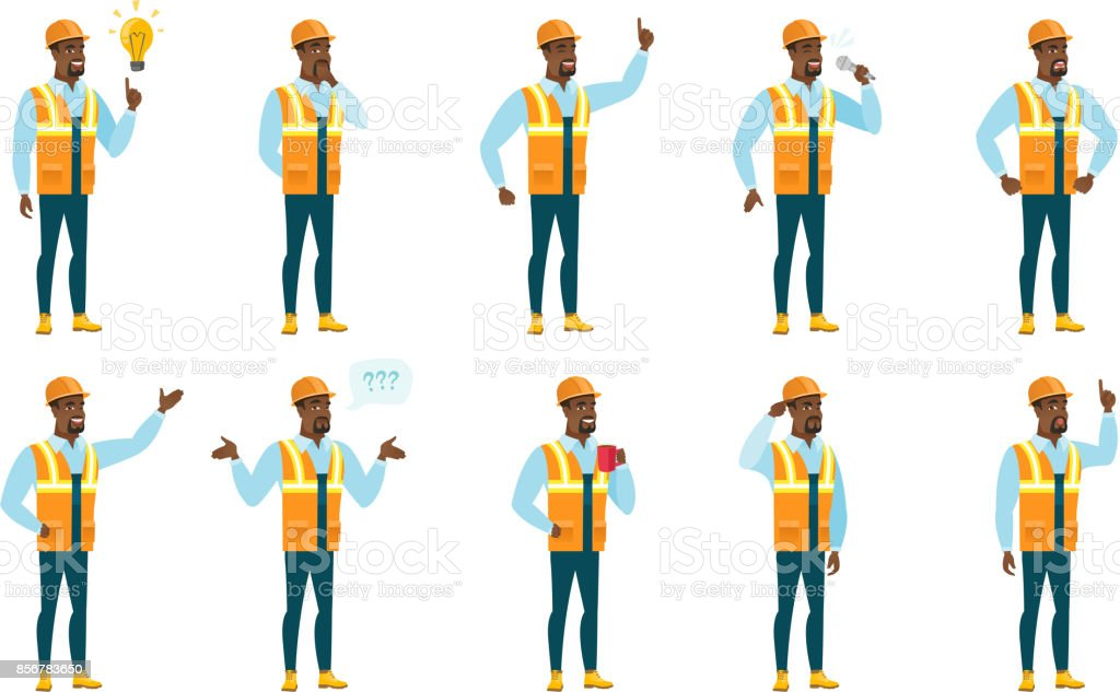 Vector set of builder characters vector art illustration