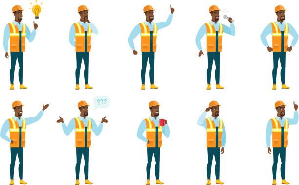 ilustraciones, imágenes clip art, dibujos animados e iconos de stock de vector conjunto de generador de caracteres - obrero de la construcción