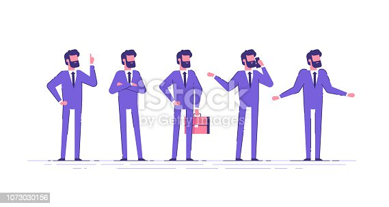 Vector set of business characters poses and actions. A handsome businessman with beard  standing with arms crossed, talking on phone, shrugging, holding up his finger.