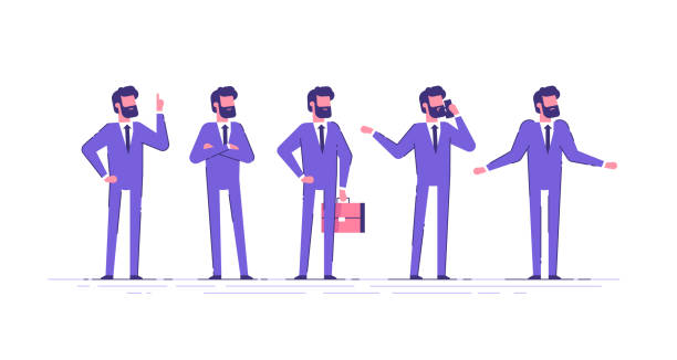 vector set of business characters poses and actions. a handsome businessman with beard  standing with arms crossed, talking on phone, shrugging, holding up his finger. - ludzka kończyna stock illustrations