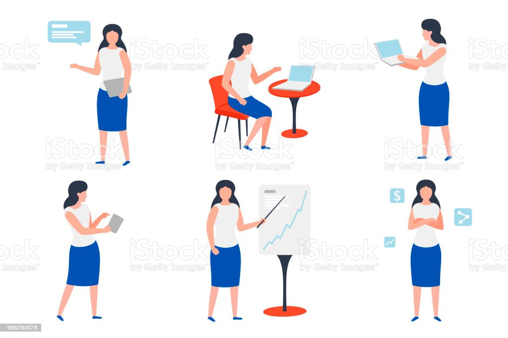 Vector set of business girls in work situations royalty-free vector set of business girls in work situations stock vector art & more images of adult