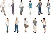 Eleven business people in isometric view. Vector EPS and high-quality JPEG included.