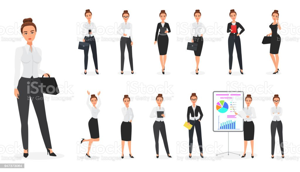 Vector Set of business woman character. Office female. vector art illustration