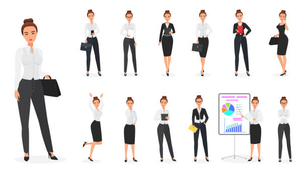 ilustrações de stock, clip art, desenhos animados e ícones de vector set of business woman character. office female. - business woman