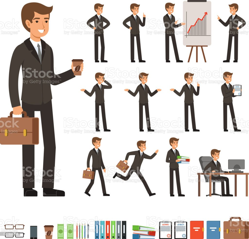 Vector set of businessman in different action poses with accessories. Funny characters illustrations vector art illustration