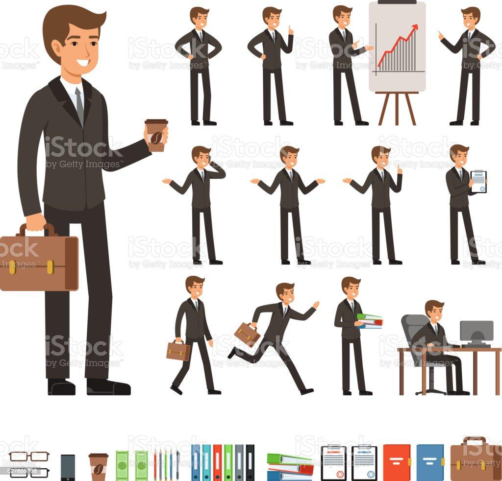 Vecteur défini d'homme d'affaires dans des poses différentes action avec accessoires. Illustrations de drôles de personnages - Illustration vectorielle
