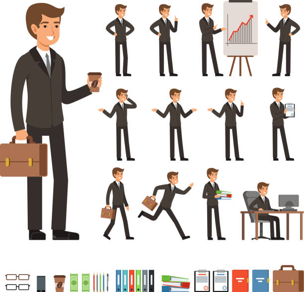 vector set of businessman in different action poses with accessories. funny characters illustrations - businessman stock illustrations, clip art, cartoons, & icons