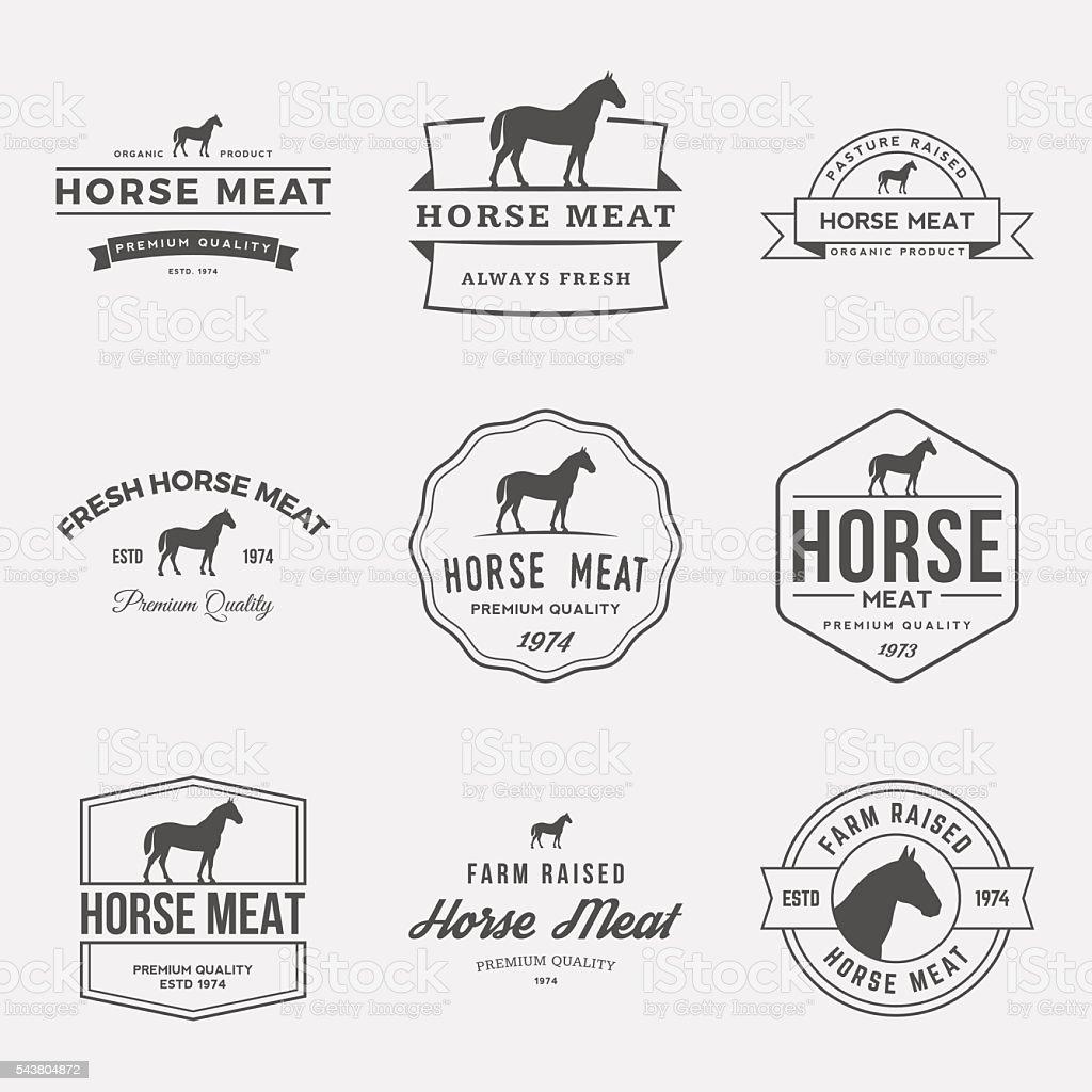 vector Conjunto de carnes etiquetas, señales y elementos de diseño - ilustración de arte vectorial
