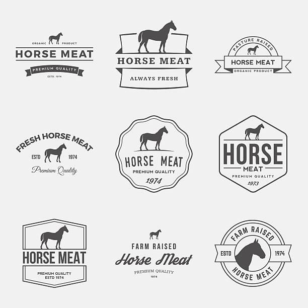 Vecteur de groupe de pièces de viande étiquettes, écussons et des éléments de conception - Illustration vectorielle