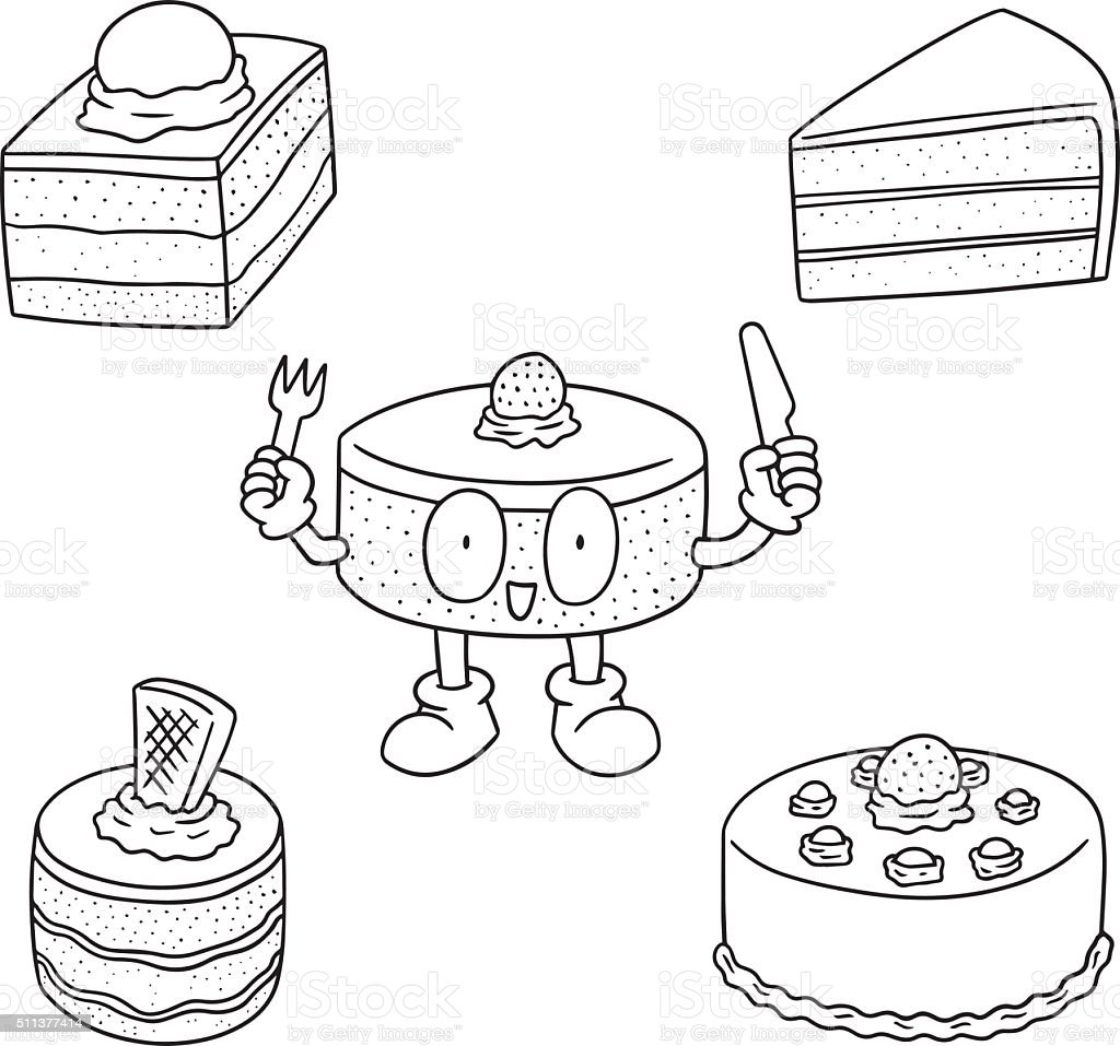 vector set of cake vector art illustration
