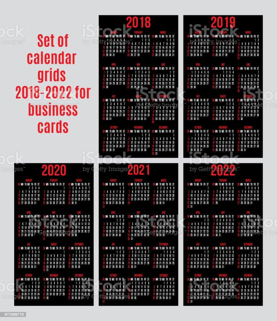 Jeu De Grilles Calendrier Des Annees 2018 2022 Pour Cartes Visite Sur Fond