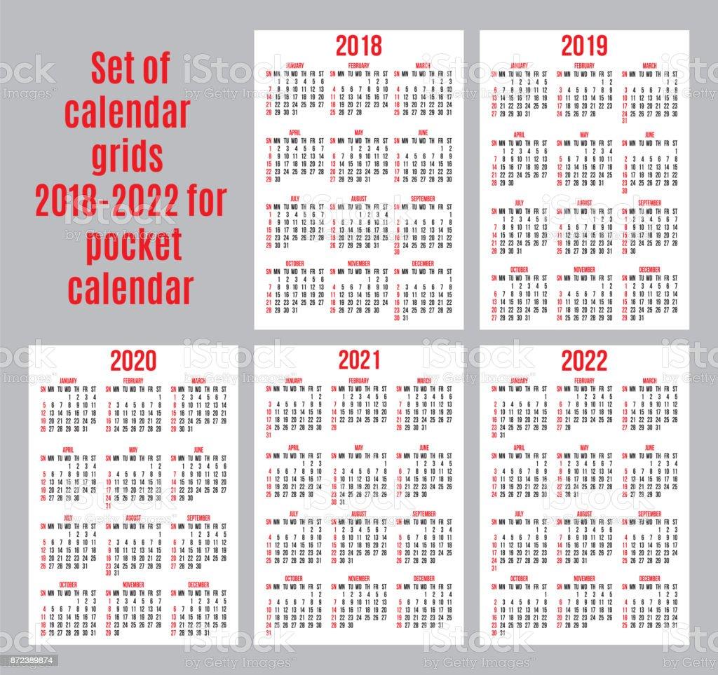 Calendrier 2018:2022 Jeu De Grilles De Calendrier Des Années 20182022 Pour Cartes De