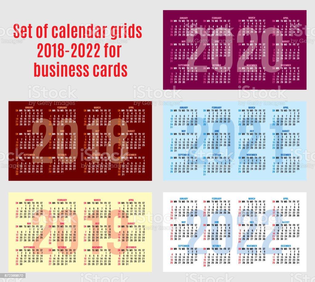 Jeu De Grilles Calendrier Des Annes 2018 2022 Pour Cartes Visite Vectorielles