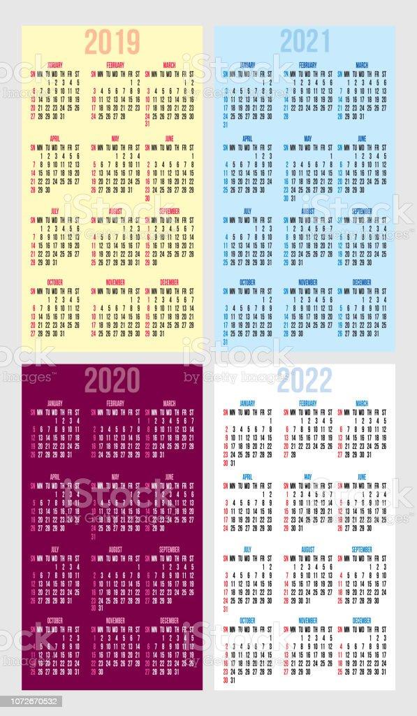 Jeu De Grilles Calendrier Pour Les Annees 2019 2022 Cartes Visite Vectorielles