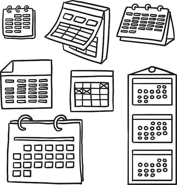 Wektor zestaw kalendarz – artystyczna grafika wektorowa