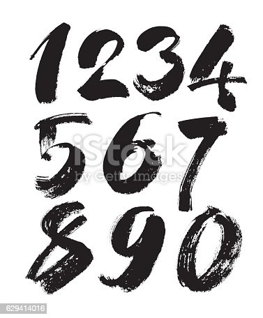 Vector Set Of Calligraphic Acrylic Or Ink Numbers Brush