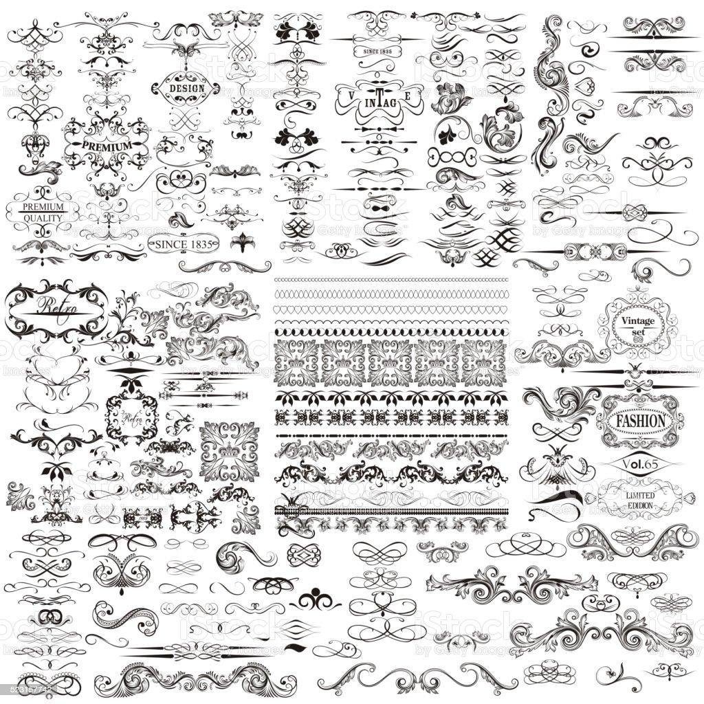 Vector set of calligraphic elements for design. Calligraphic vec vector art illustration