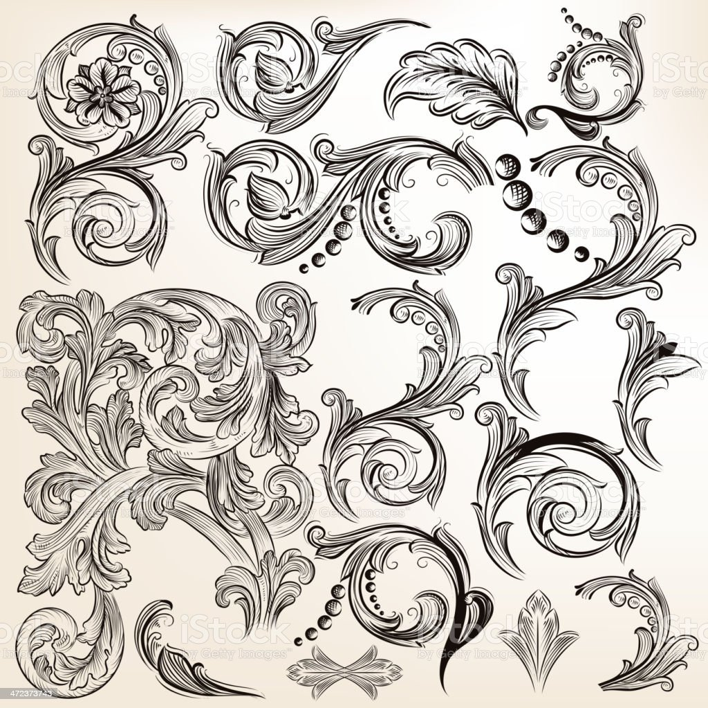 Vector set of calligraphic vintage swirls for design vector art illustration