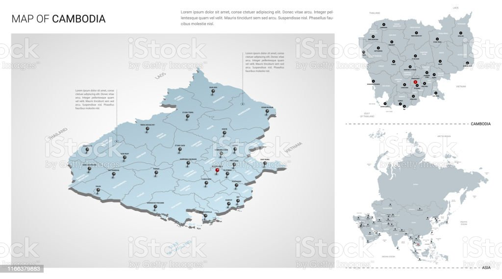 Vector Set Of Cambodia Country Isometric 3d Map Cambodia Map ...