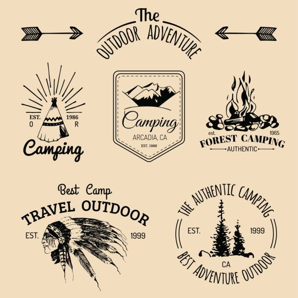 Vector set of camping emblems. Tourism badges. Signs collection of outdoor adventures with Indian elements. Vector set of vintage camping emblems. Tourism badges. Retro signs collection of outdoor adventures with Indian elements. teepee stock illustrations