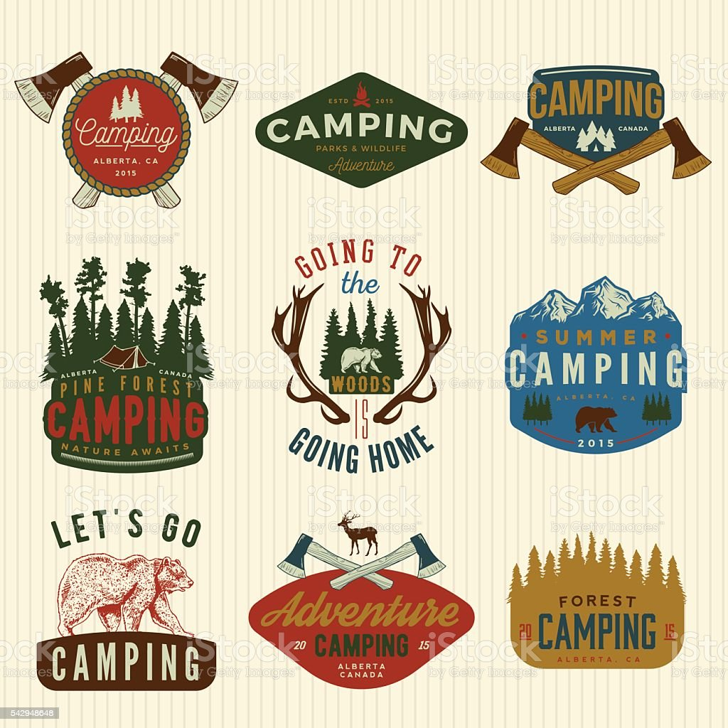 vector set of camping vintage logos, emblems, silhouettes and de vector art illustration