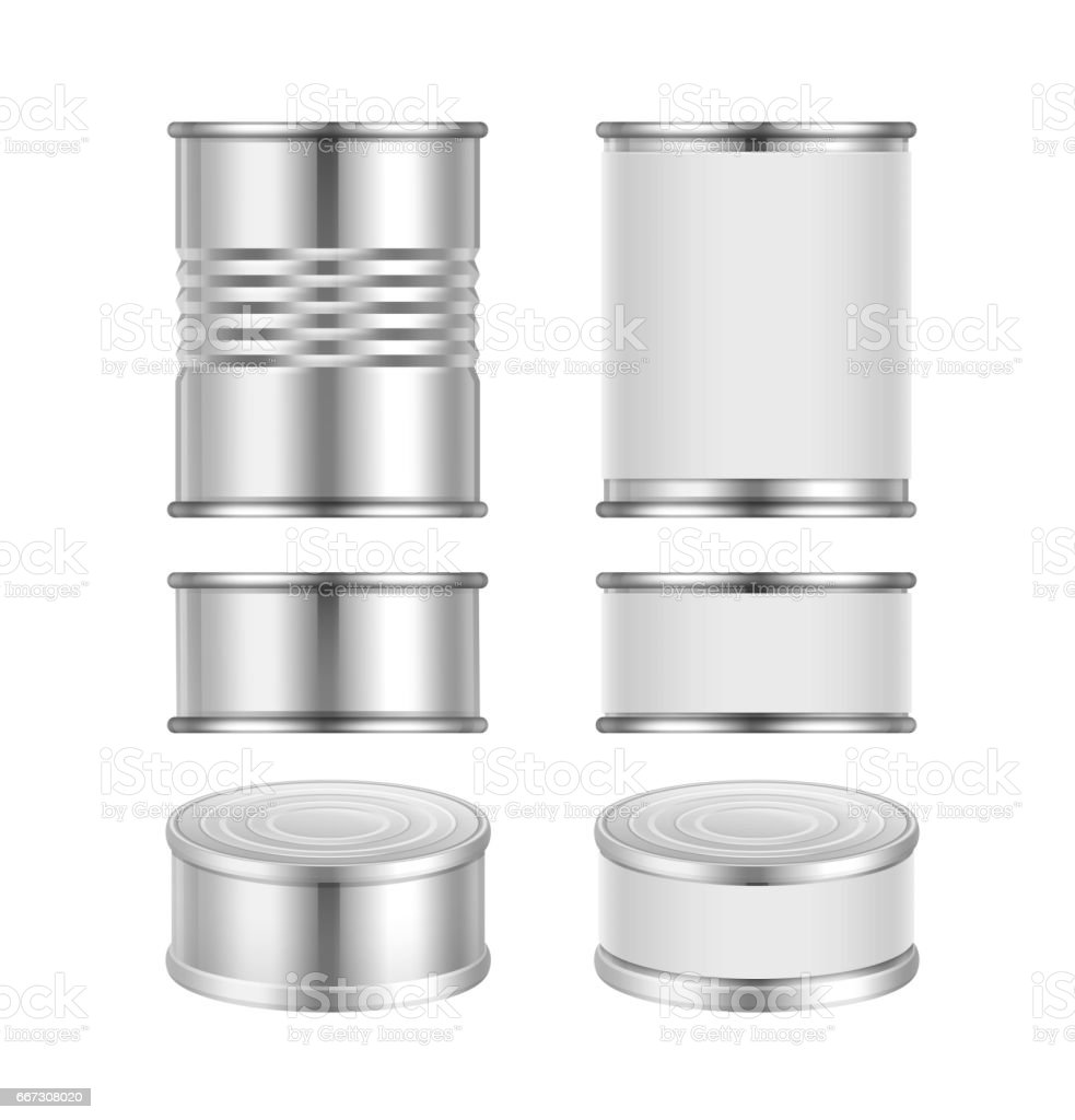 Vector set of canned goods vector art illustration