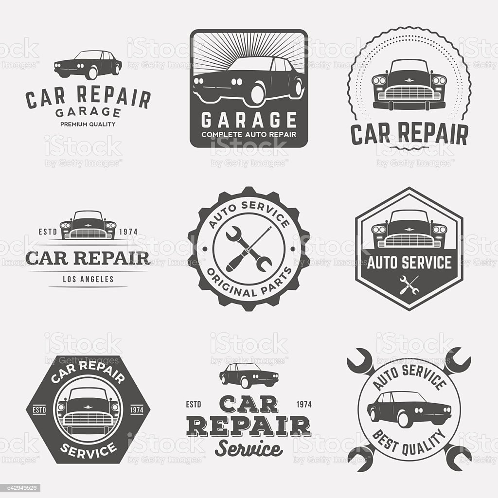 vector set of car repair service labels and design elements vector art illustration