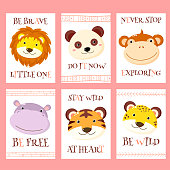 Collection of tribal banner, background, flyer, sticker, placard with cute animals. Vector template card for greeting, decoration, congratulation. Inscription Be wild, Be brave little one, be free