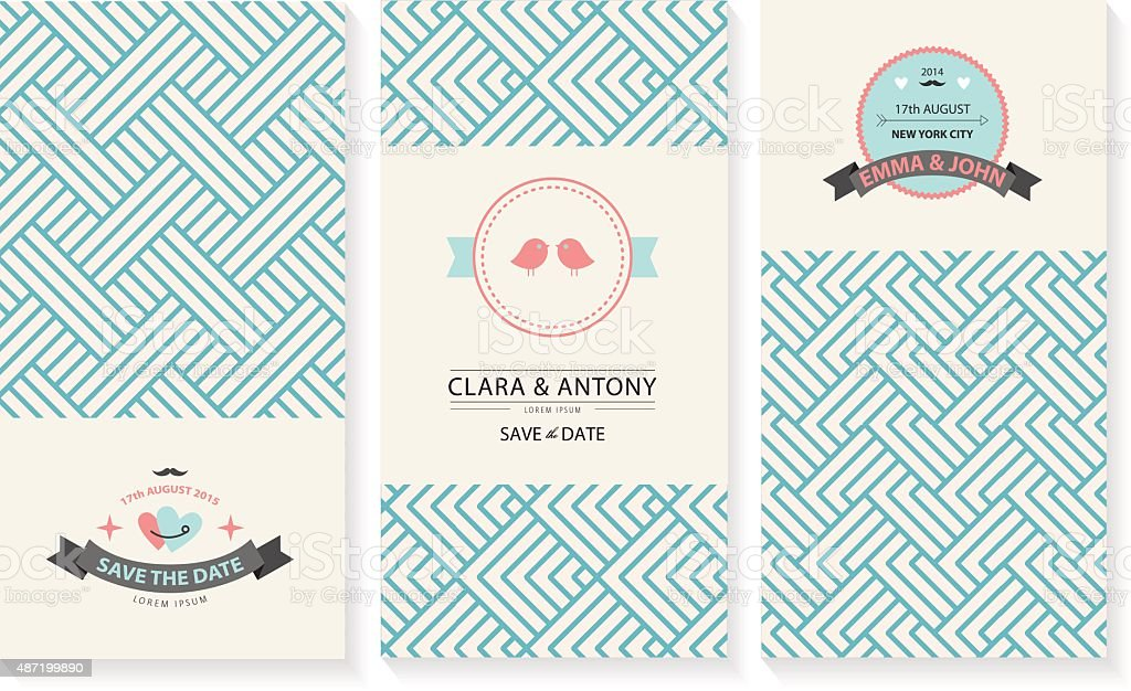 Vector set of cards wedding invitations with retro geometric vector set of cards wedding invitations with retro geometric backgrounds royalty free vector set stopboris Image collections