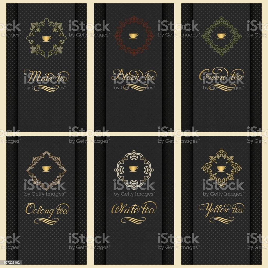 Vector Set Van Kaarten Met Een Verscheidenheid Aan Thee