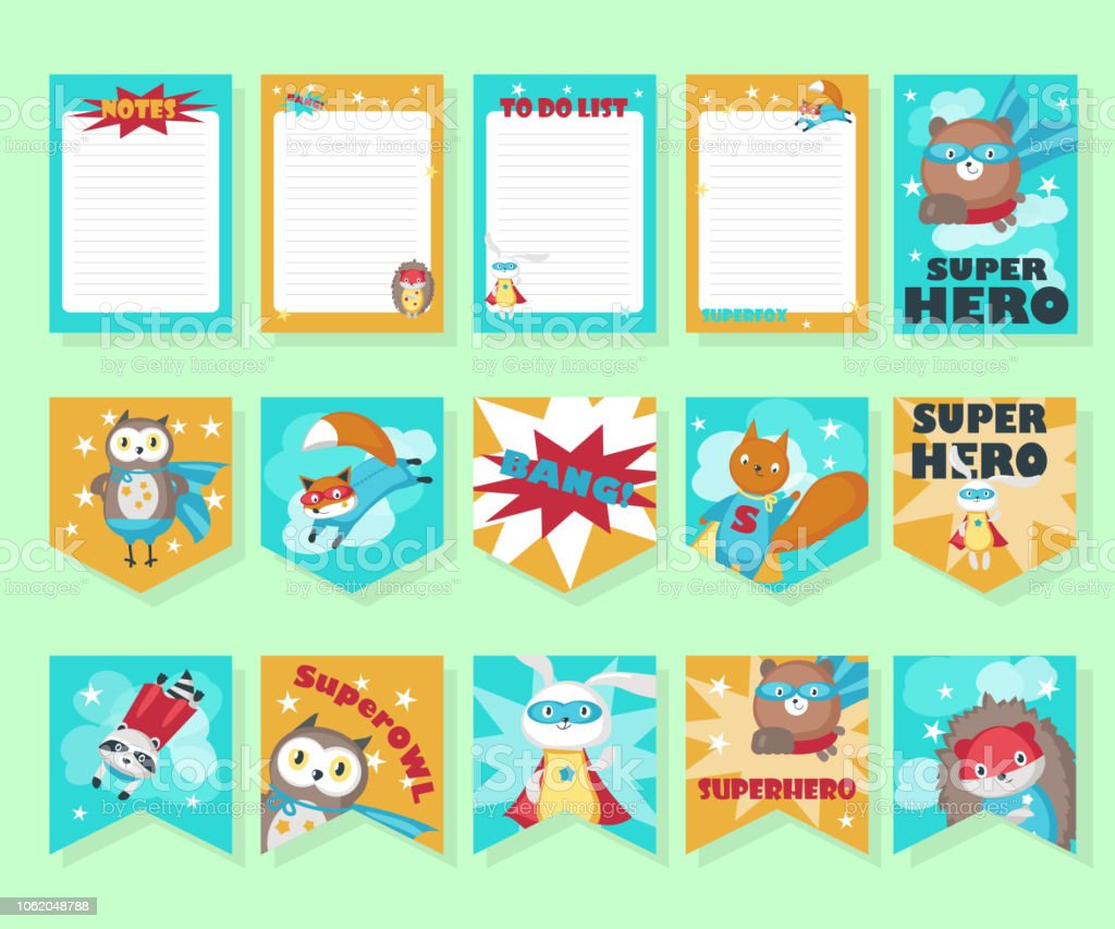 Vector set of cards with cute superhero animals vector art illustration