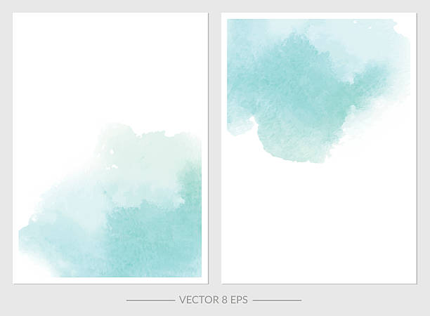 Vector. Set of cards with watercolor blots. - ilustración de arte vectorial