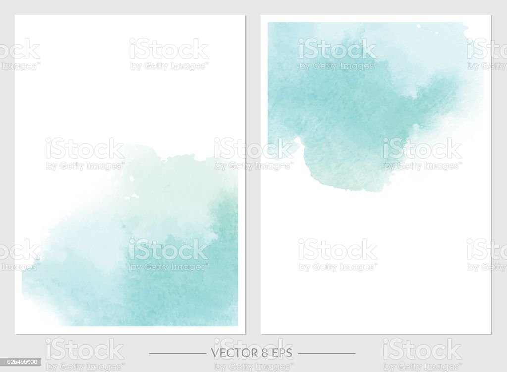 Vector. Set of cards with watercolor blots. - Illustration vectorielle