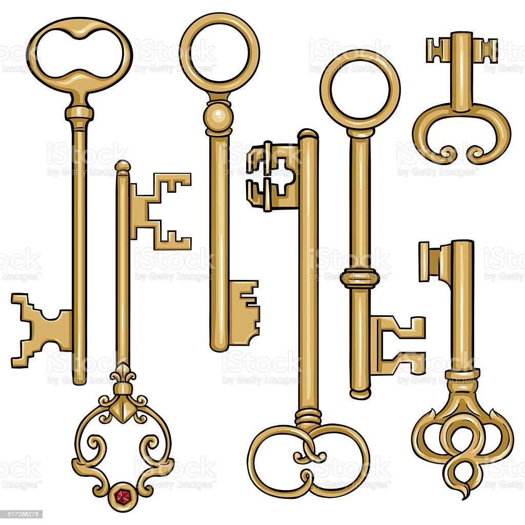Vector set of cartoon antique keys stock vector art more for Llaves para lavabo antiguas