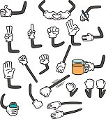 vector set of cartoon arm