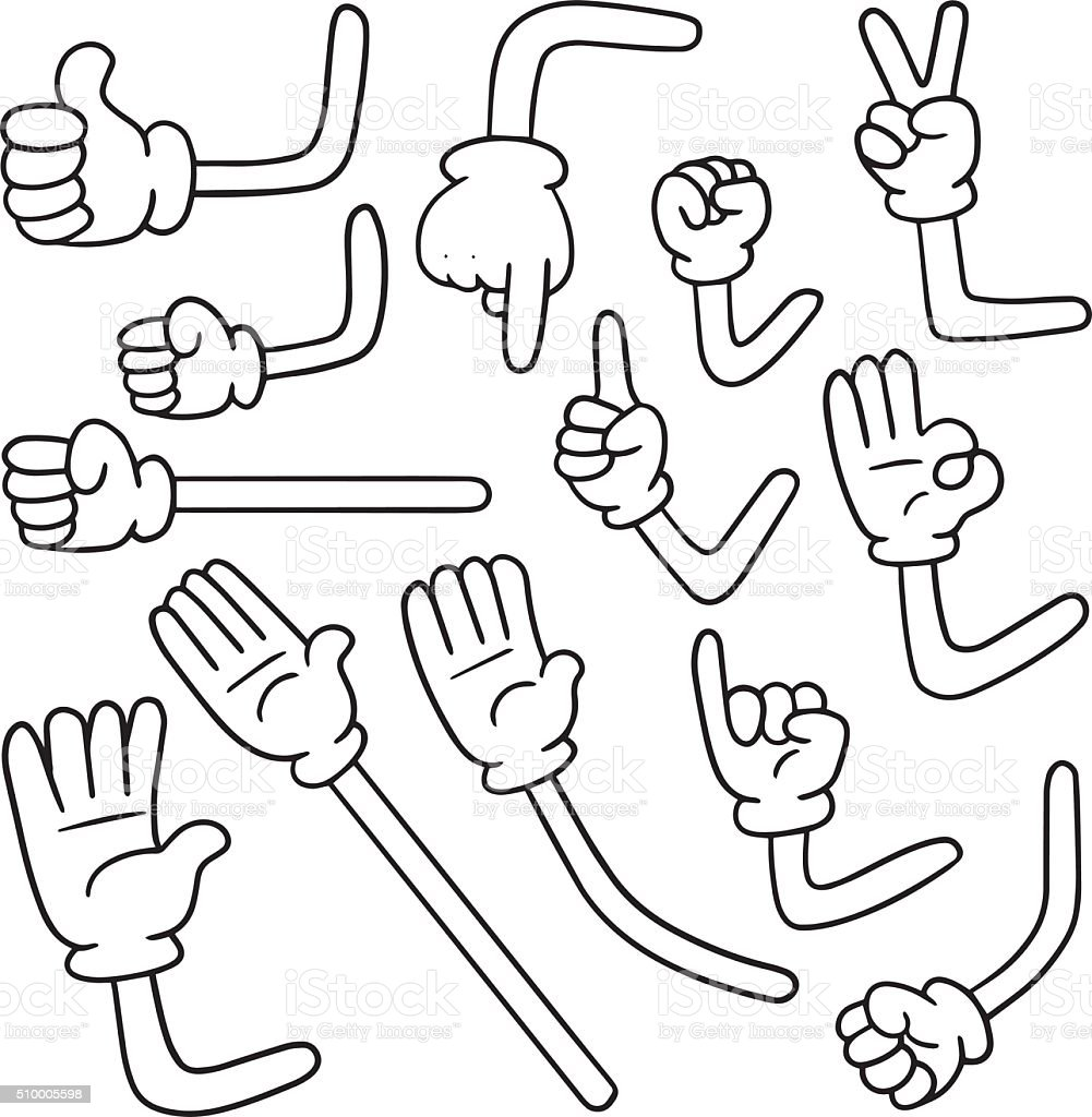 vector set of cartoon arm vector art illustration