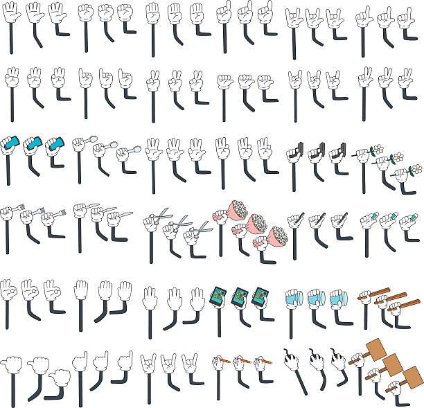 vector set of cartoon arm vector art illustration