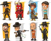 Vector set of cartoon bad guys characters