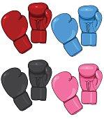 Vector Set of Cartoon Boxing Gloves