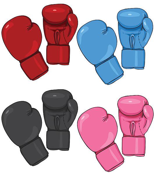 vector set of cartoon boxing gloves - boxing gloves stock illustrations, clip art, cartoons, & icons