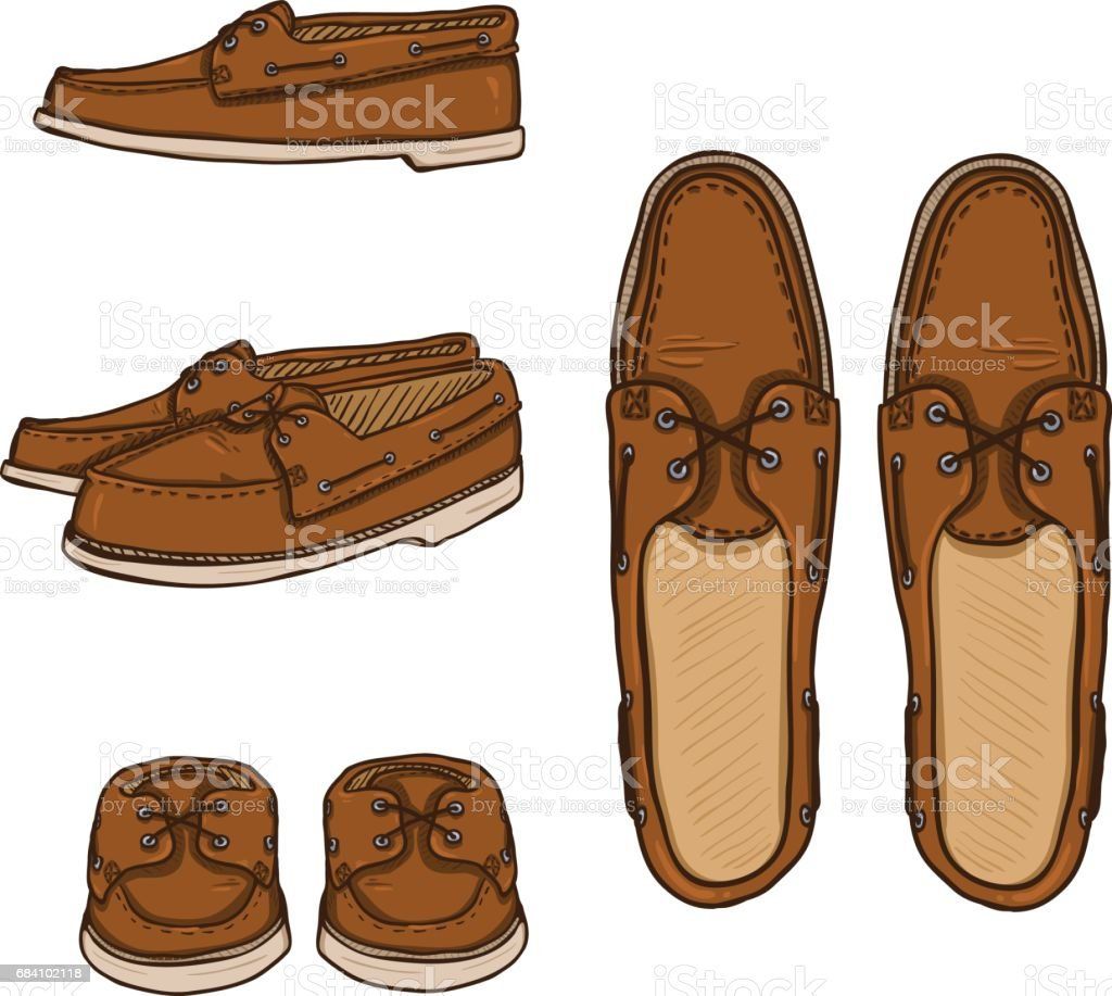 Vector Set of Cartoon Brown Topsider Men Shoes. vector art illustration