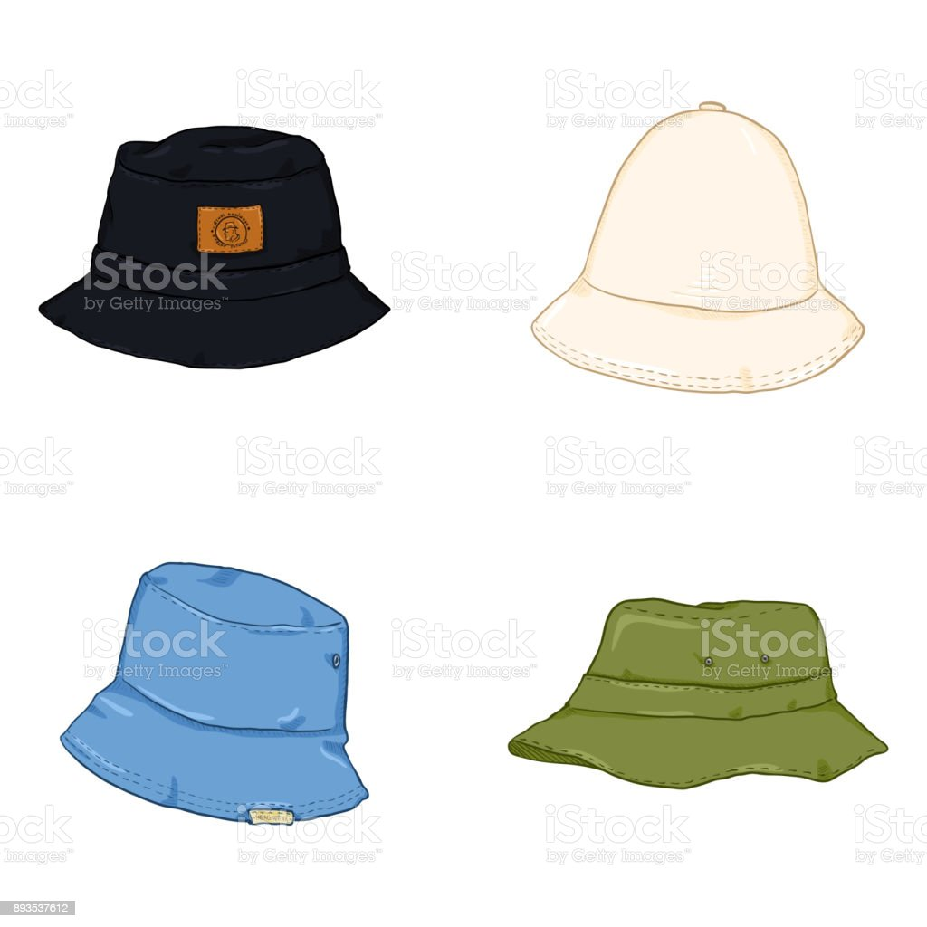 Vector Set of Cartoon Bucket Hats. Hip-hop Style Headwear. vector art illustration