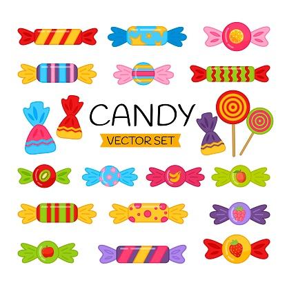 Vector set of cartoon candies