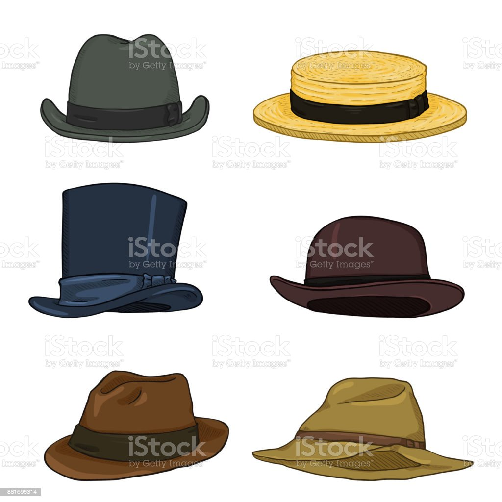 Vector Set of Cartoon Classical Types Hats. Homburg, Kanotie, Cylinder, Bowler, Fedora, Trilby. vector art illustration