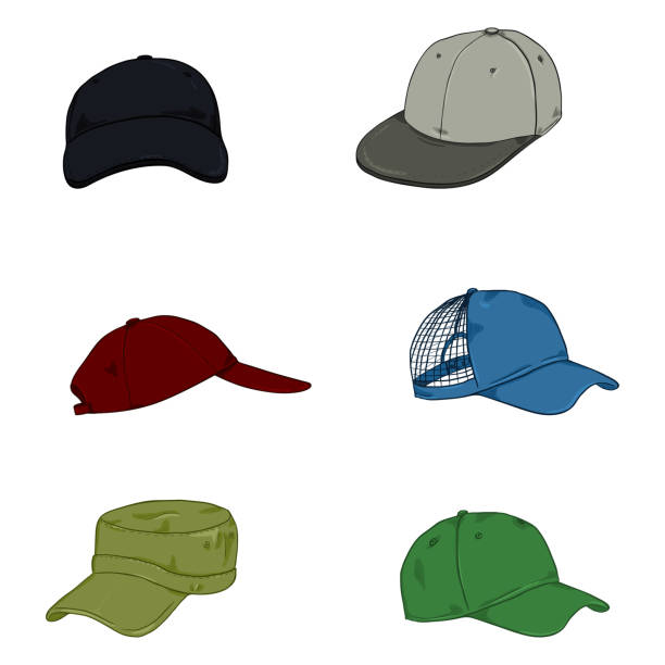 Vector Set of Cartoon Color Baseball Caps. Vector Set of Cartoon Color Baseball Caps. Side and Front Views. uniform cap stock illustrations