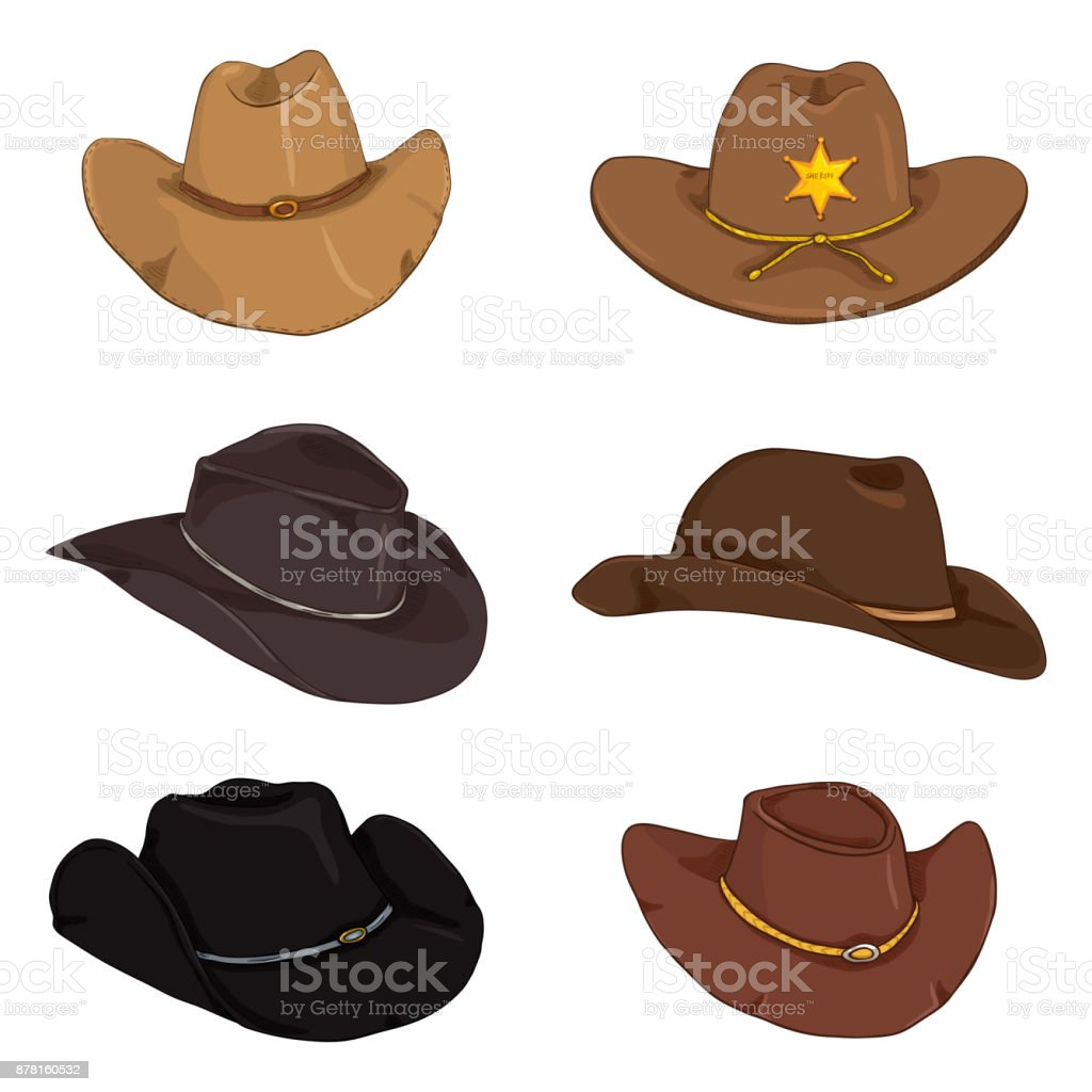 Vector Set of Cartoon Color Cowboy Hats vector art illustration