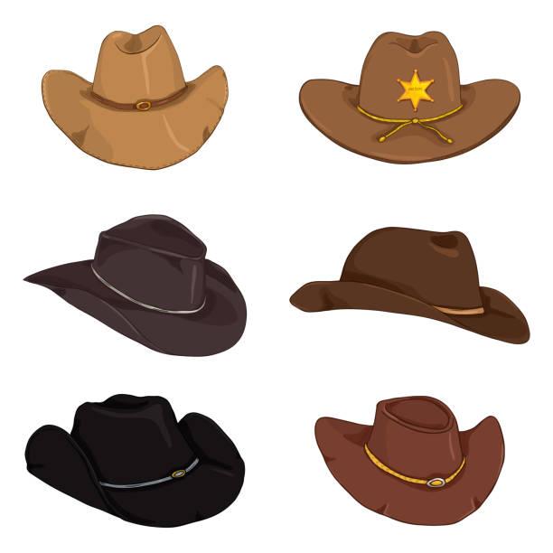 d86ba84b161 Vector Set of Cartoon Color Cowboy Hats vector art illustration
