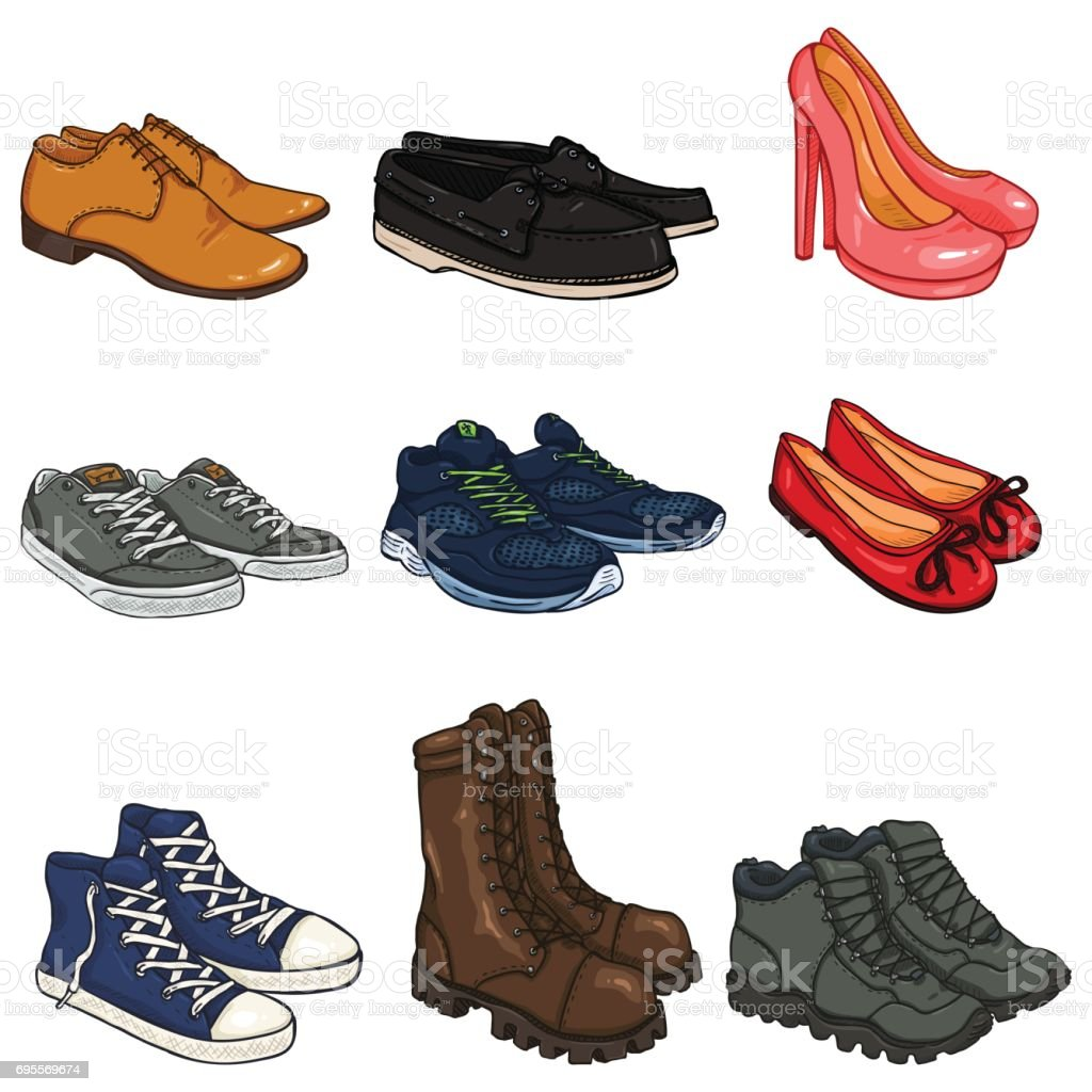 Vector Set of Cartoon Color Shoes Items. vector art illustration